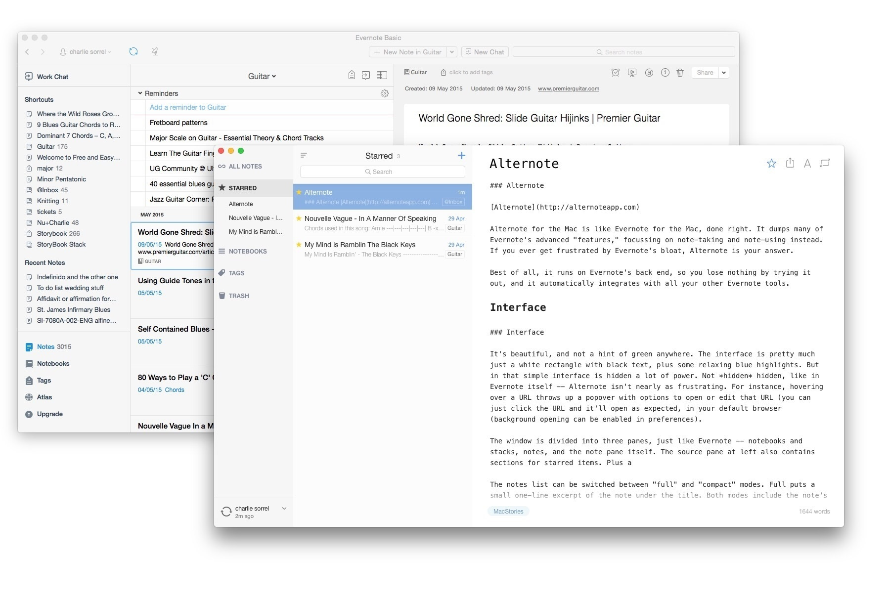 Even with Evernote's recent cleanup, Alternote is still simpler and prettier