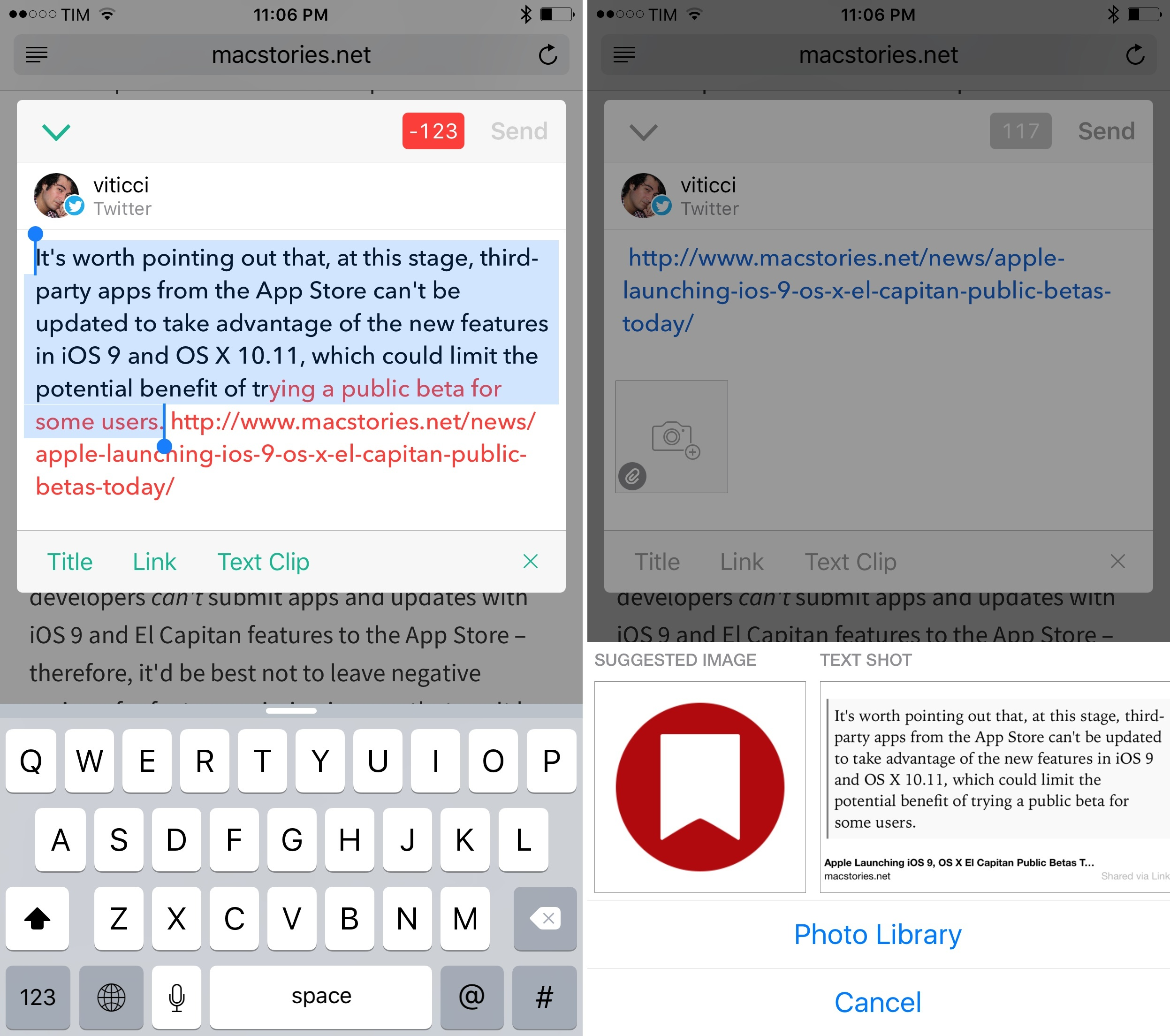 Linky makes it easy to select clipped text and turn it into a textshot.