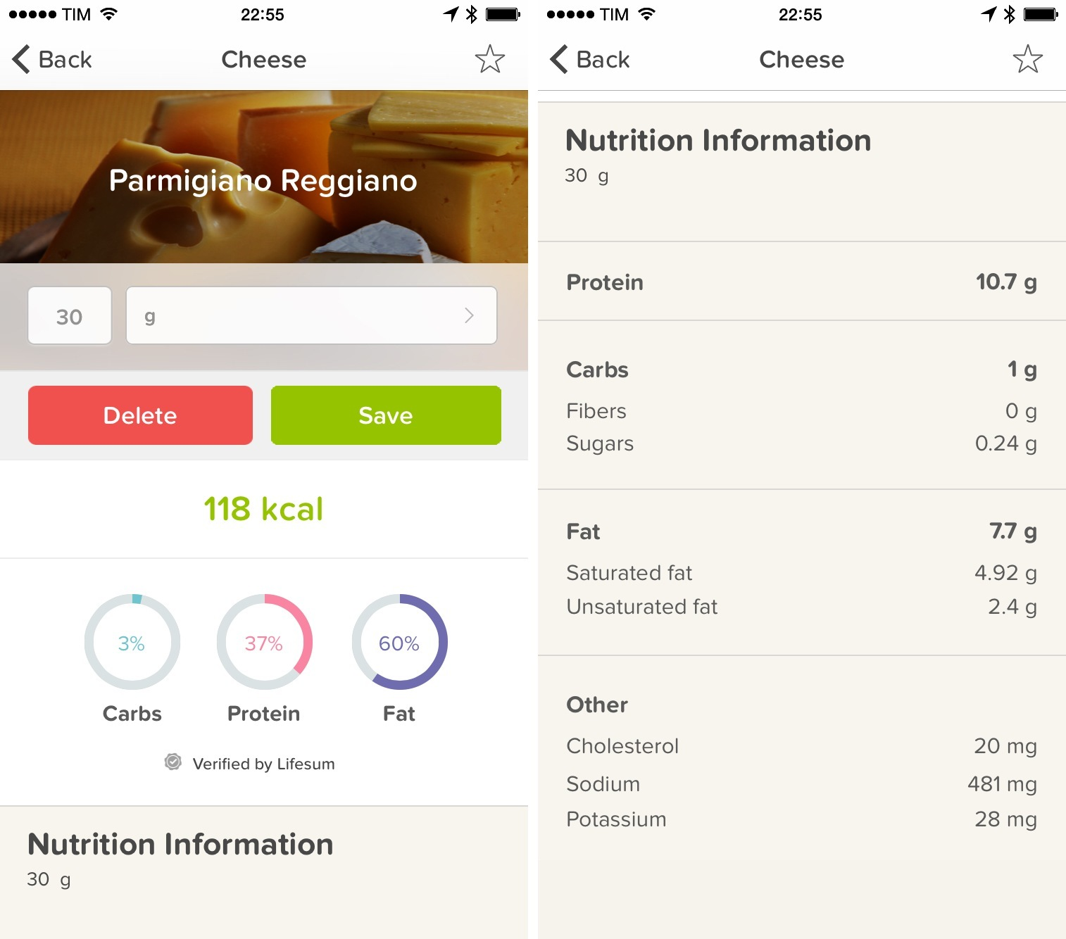 Nutrition information is often verified by Lifesum itself.
